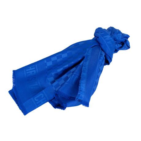D-Check Silk-Wool Scarf // Royal Blue