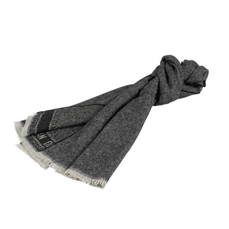 Chevrons Wool Blend Scarf // Gray + Black