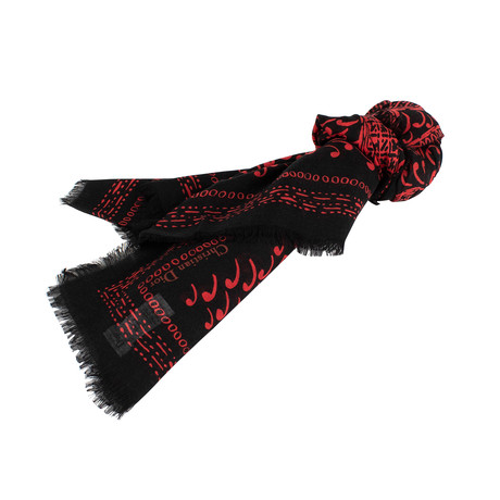Paisley Cards Cashmere-Silk Scarf // Red + Black