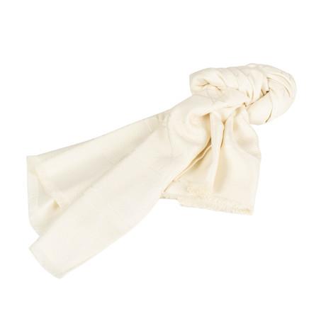 Cannage Silk Wool Scarf // Ivory