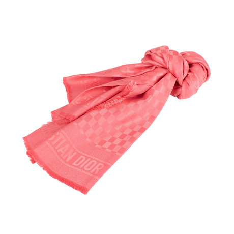 D-Check Silk-Wool Scarf // Pink