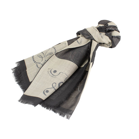 Checkerboard Wool Blend Scarf // Black + Gray