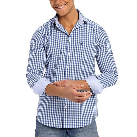 Plaid Button-Up Shirt // Dark Blue (S)
