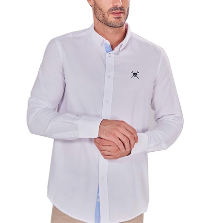 Solid Button-Up Shirt // White + Blue (S)