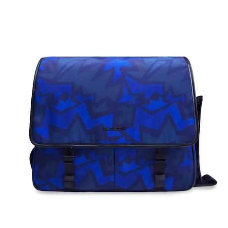 Leather Trimmed Messenger Bag // Navy