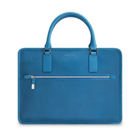 Leather Zip Briefcase // Cobalt