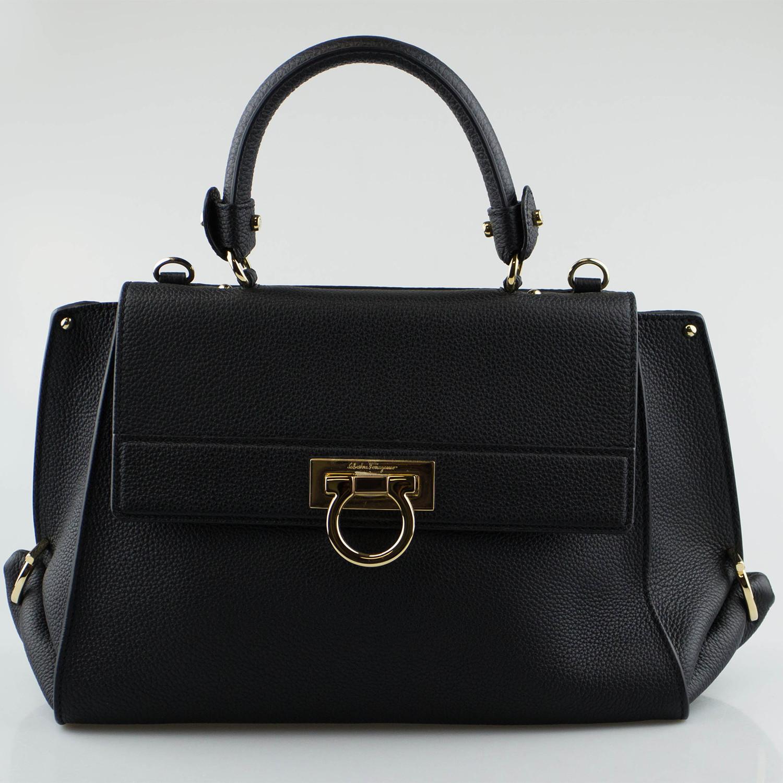 c4b4d225a3fa B2f3019765bf1ac5e85f25b2fe2106a3 medium. Salvatore Ferragamo    Leather  Sofia Handbag    Black