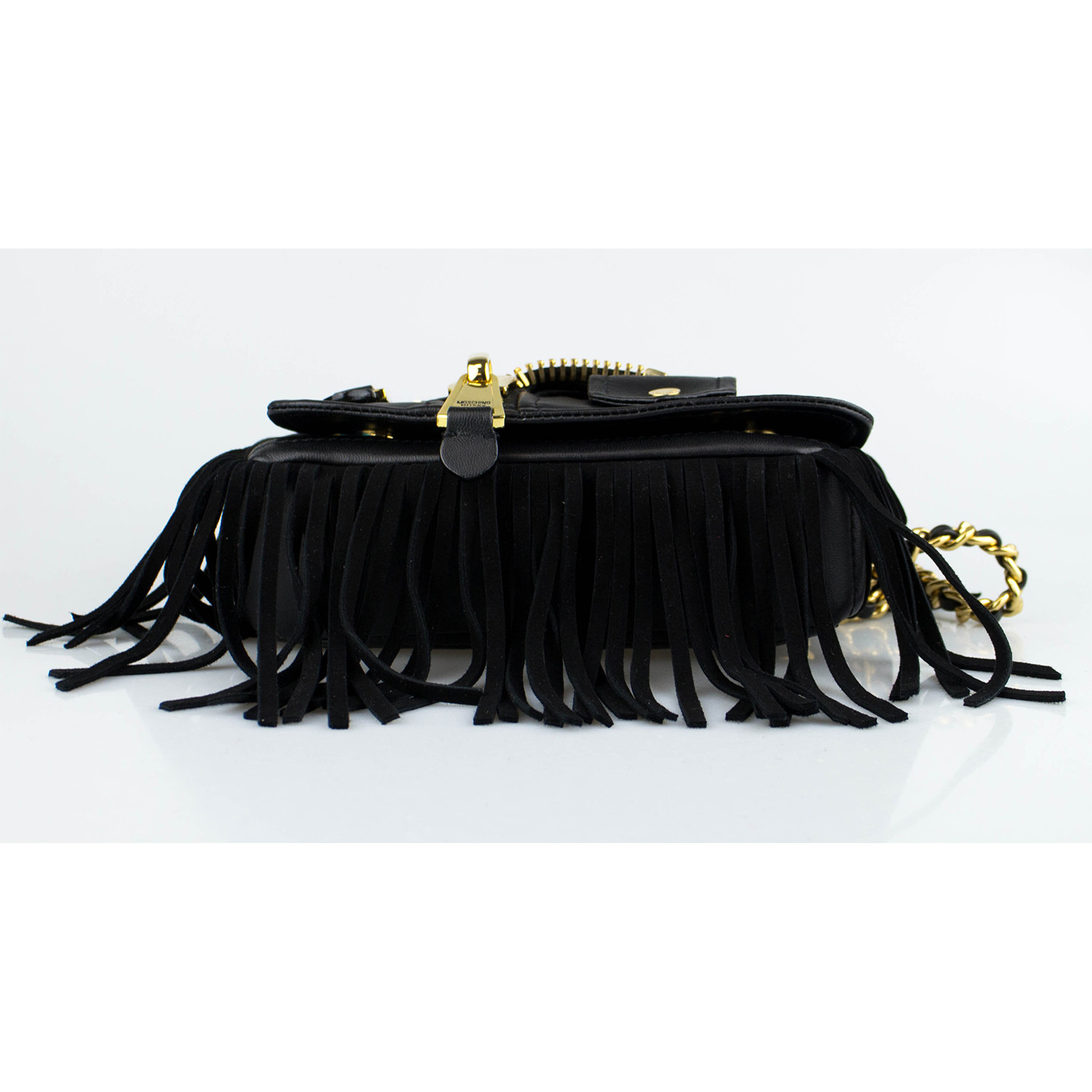 16be65cf56 Moschino // Leather Motorcycle Jacket Fringe Crossbody Handbag // Black