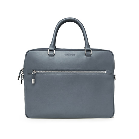 Wood Grained Semi Embossed Leather Zip Briefcase // Steel