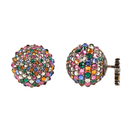 Strass Tribales Earrings // Antique Silver + Multi-Color