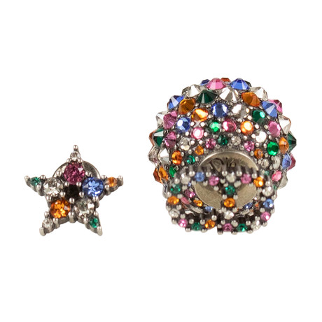 Asymmetrical Strass Earrings // Antique Silver + Multi-Color
