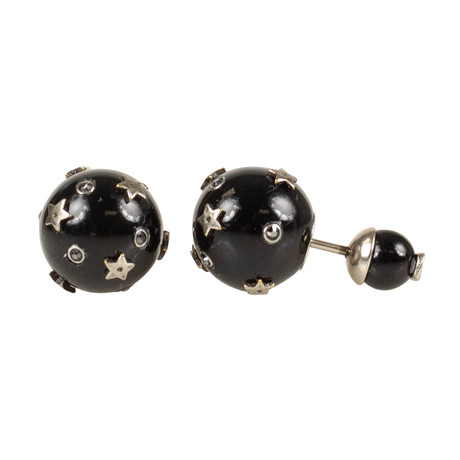 Mini Stars Tribales Earrings // Black + Antique Silver
