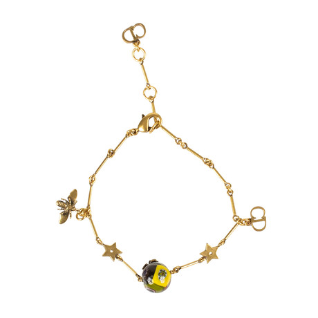 One Pearl + Charms Bracelet // Antique Gold + Multi-Color