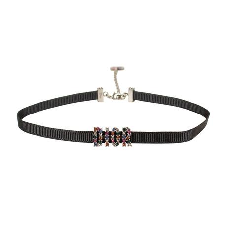 Ribbon Strass Dior Choker Necklace // Black + Multi-Color