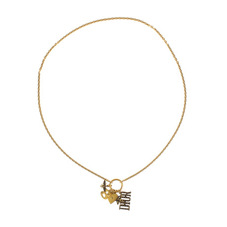 Multi Charms Dior Strass Long Necklace // Antique Gold
