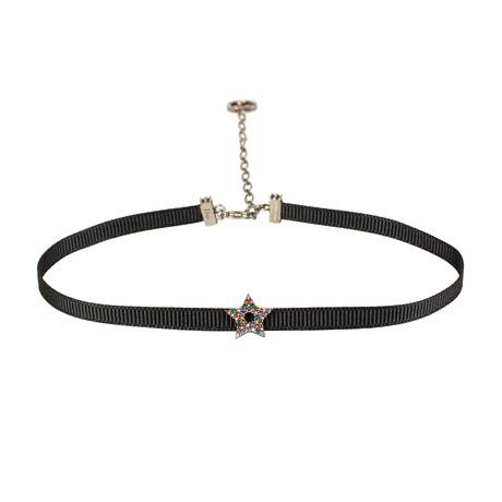 Ribbon Multi-Color Star Strass Choker Necklace // Black