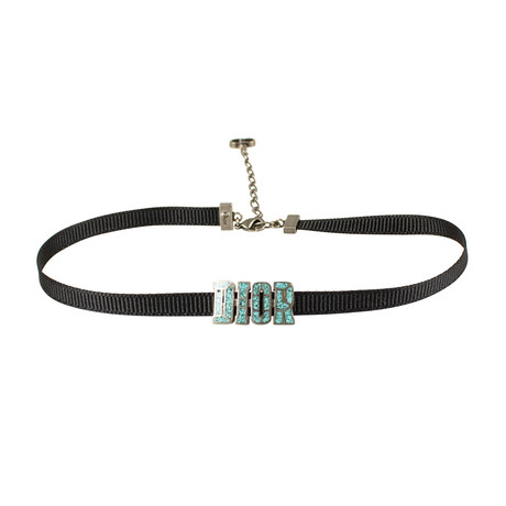 Mosaic Ribbon Dior Choker Necklace // Black + Turquoise
