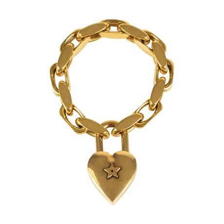 Metal Heart Link Bracelet // Antique Gold