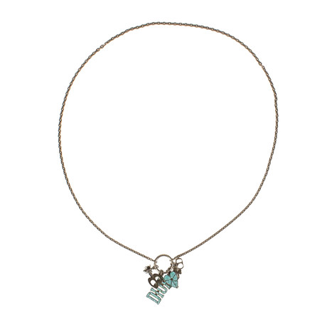 Multi Charms Mosaic Antique Silver Long Necklace // Turquoise