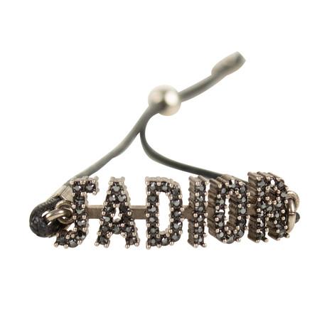 Metal J'Adior Thin Bracelet // Black + Antique Silver