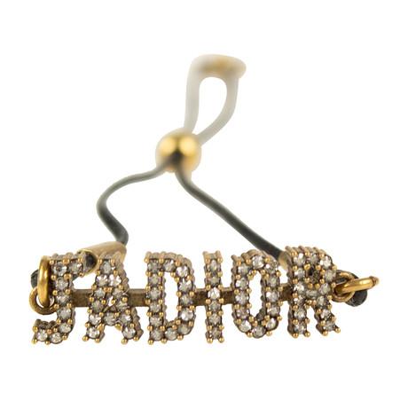 Metal J'Adior Thin Bracelet // Black+ Antique Gold