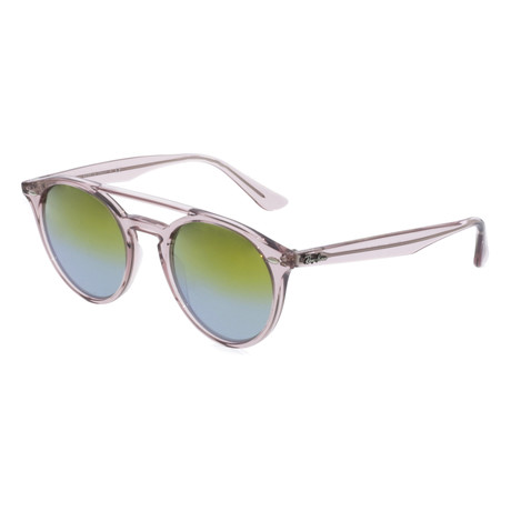 Unisex Propionate Oval Sunglasses // Crystal Pink + Green Gradient Mirror