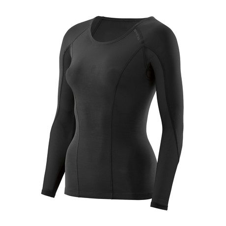 SKINS DNAmic Womens L/S Top Black/Black (Medium)