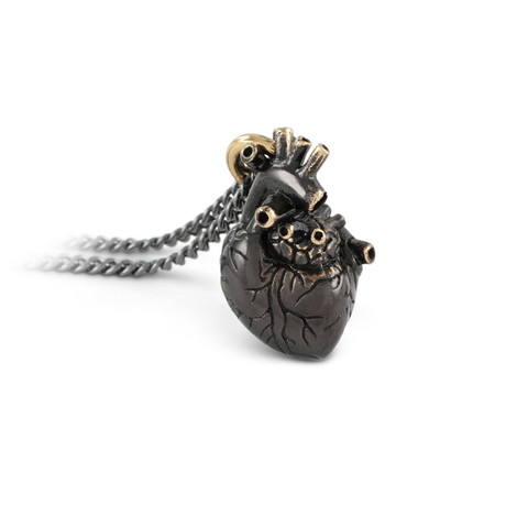 "Small Black Anatomical Heart Necklace (Bronze // 20"" Gunmetal Chain)"
