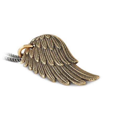 "Raven Wing Necklace (Bronze // 20"" Gunmetal Chain)"