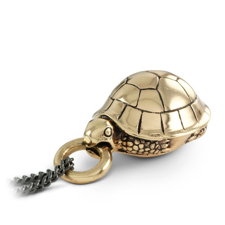 "Turtle Necklace (Bronze // 20"" Gunmetal Chain)"