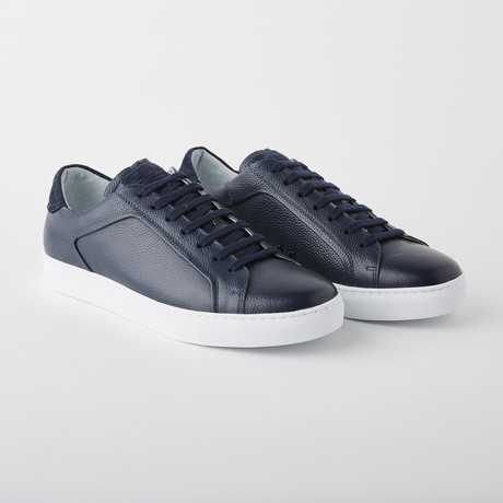 Bloke-Low Lace-Up Sneaker // Navy Leather (US: 7)