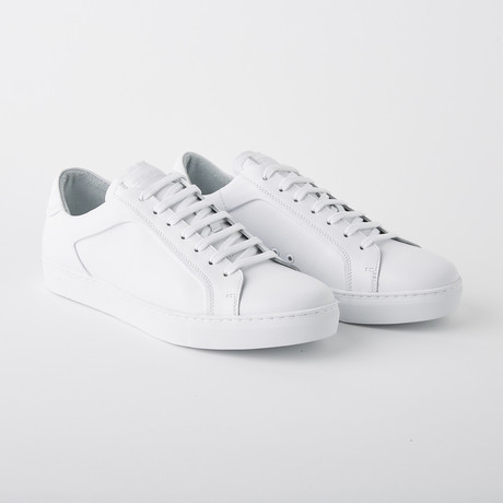 Bloke-Low Lace-Up Sneaker // White Leather (US: 7)