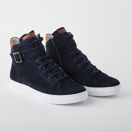 Bloke Hi Lace-Up Sneaker // Navy Suede (US: 7)