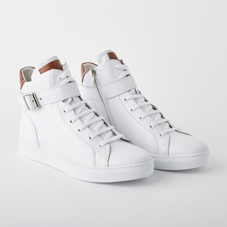 Bloke-Hi Lace-Up Sneaker // White Leather (US: 7)