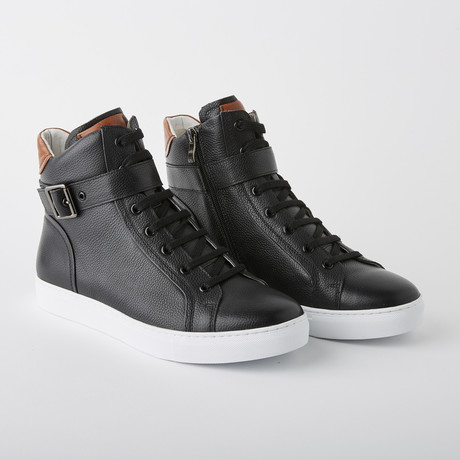 Bloke Hi Lace-Up Sneaker // Black Leather (US: 7)