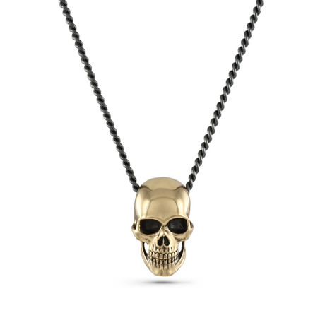 "Human Skull Necklace // Bronze (20"")"