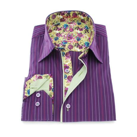 Harrold Stripe Button-Up Shirt // Purple (S)