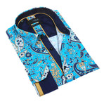Sanak Print Button-Up Shirt // Turquoise (XL)