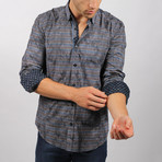 Neferkara Print Button-Up Shirt // Navy (S)