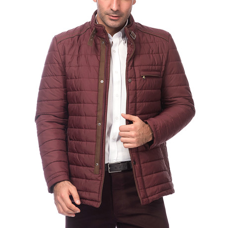 John Slim Fit Coat // Burgundy (Small)