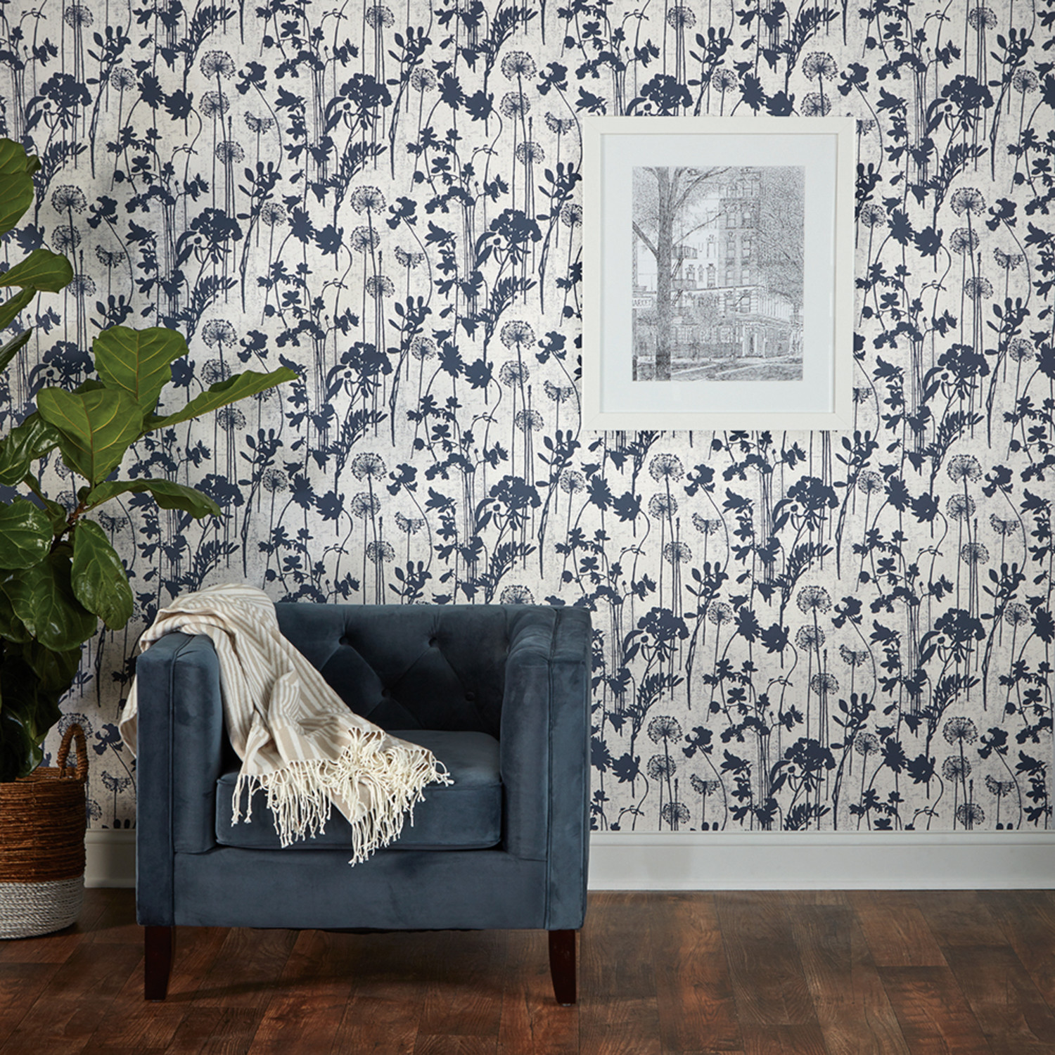 Distressed Floral Ivory Navy Self Adhesive Wallpaper