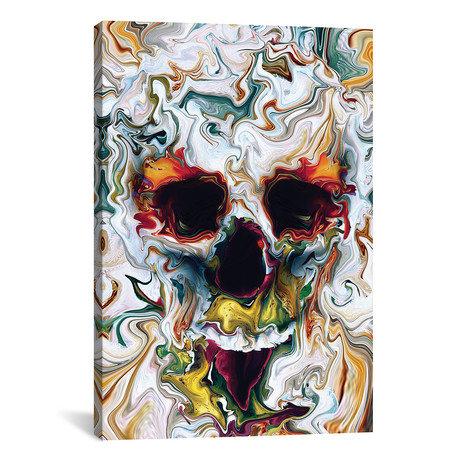 "Skull Abstract by Riza Peker (18""W x 26""H x 0.75""D)"