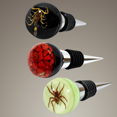 Wine Stoppers // Scorpion, Spider + Red Jasper // Set Of 3
