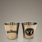 Jack Daniels Original Flask + 2 Shot Glasses // Stainless Steel