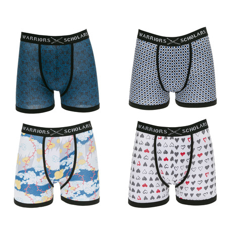 Martin Moisture Wicking Boxer Briefs // Blue + White + Yellow + Red // Pack of 4 (S)