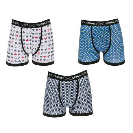 Jacob Moisture Wicking Boxer Briefs // White + Blue + Yellow // Pack of 3 (S)