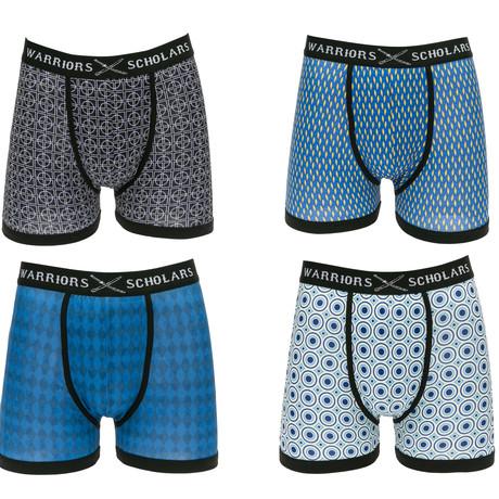 Zen Moisture Wicking Boxer Briefs // Black + Blue + Light Blue + White // Pack of 4 (S)