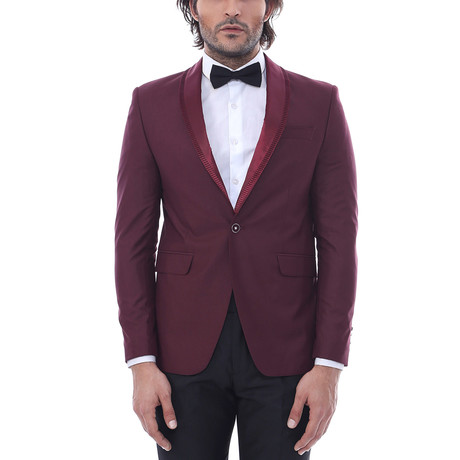 Carl Slim Fit 2-Piece Tuxedo // Burgundy (Euro: 44)