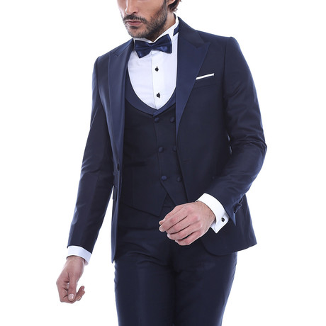 Louie Slim Fit 3-Piece Tuxedo // Navy (Euro: 44)