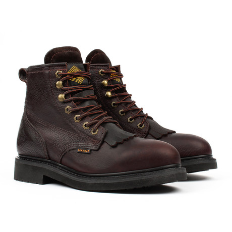 Plain-Toe Kiltie Work Boots // Brown (US: 5)